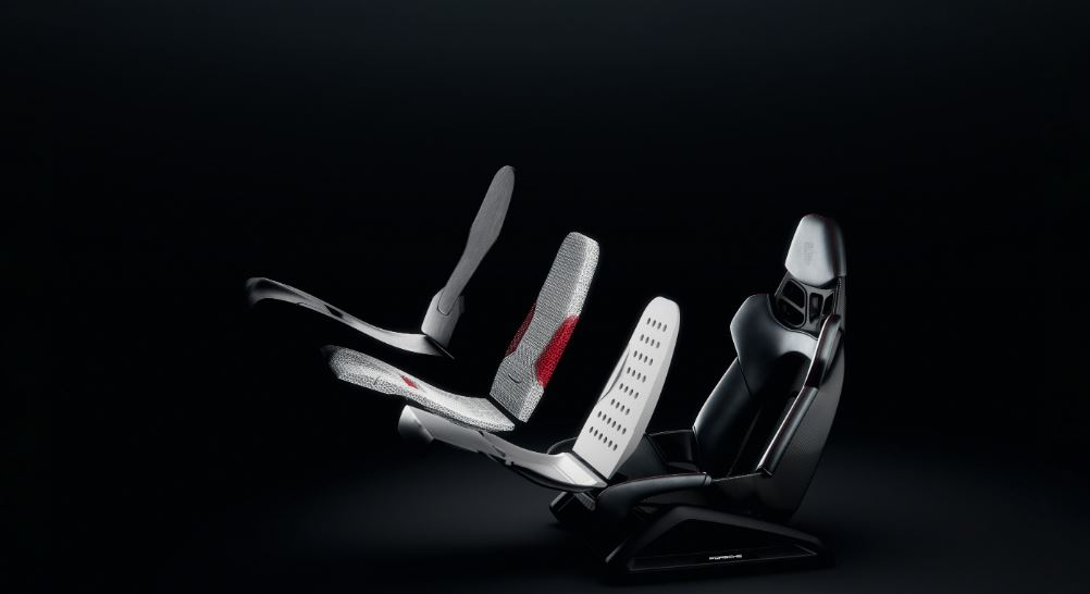 Exploded view of the 3D printed personalized bucket seat. Image via Porsche.