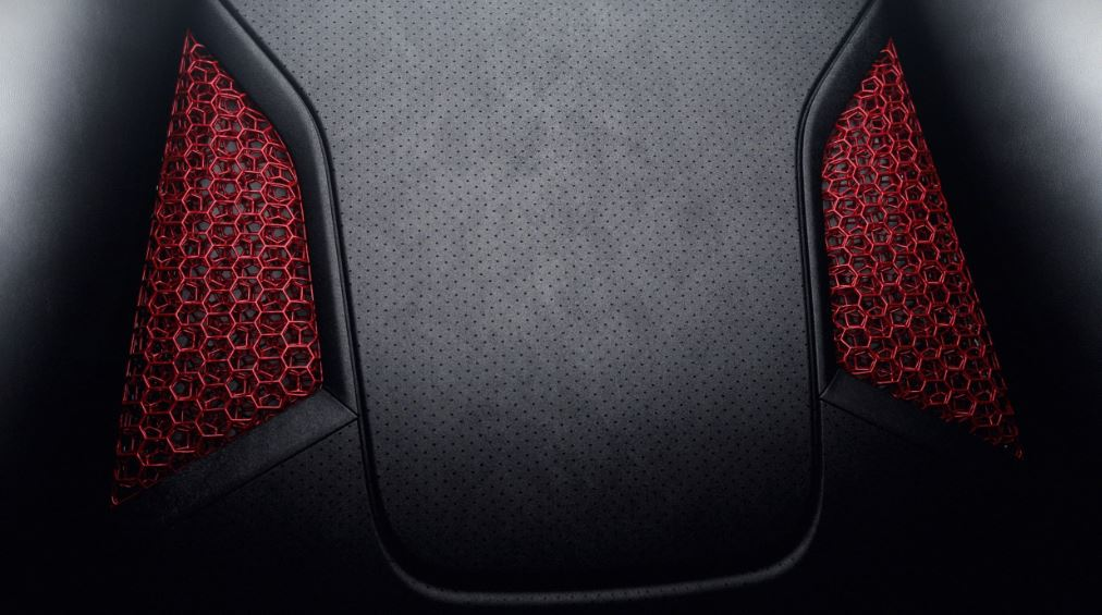The lattice structure on display inside the seat. Image via Porsche.