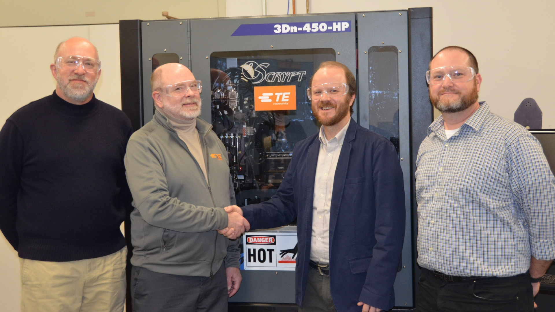 TE Connectivity donating the nScrypt 3Dn-450-HP 3D printer to Penn State. Photo via TE Connectivity.