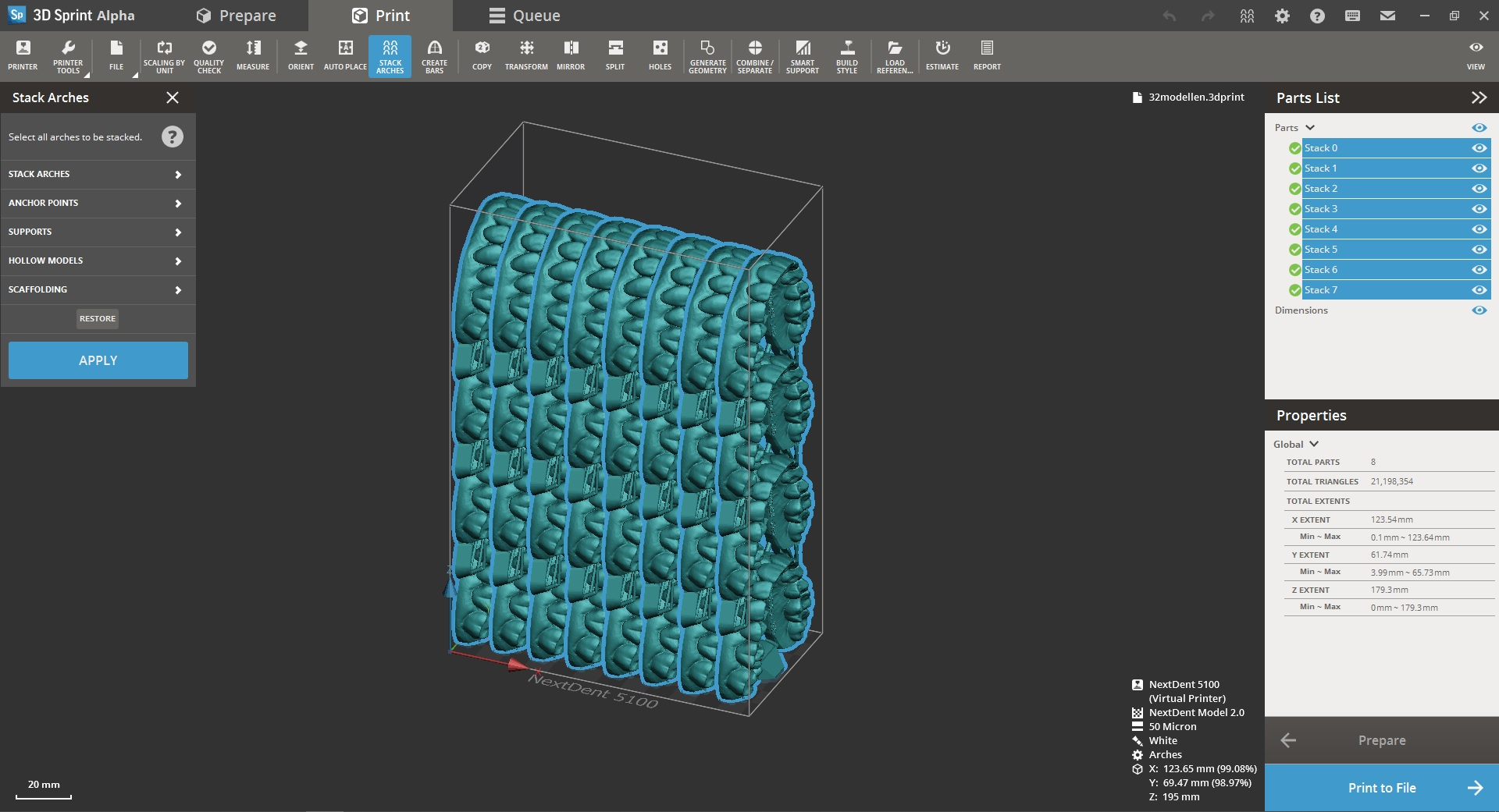 The new auto-stacking feature included in 3D Sprint provides one-click automated preparation and placement of models on the build plate that yield high precision models with reduced material consumption and easy break-off supports. Image via 3D Systems.