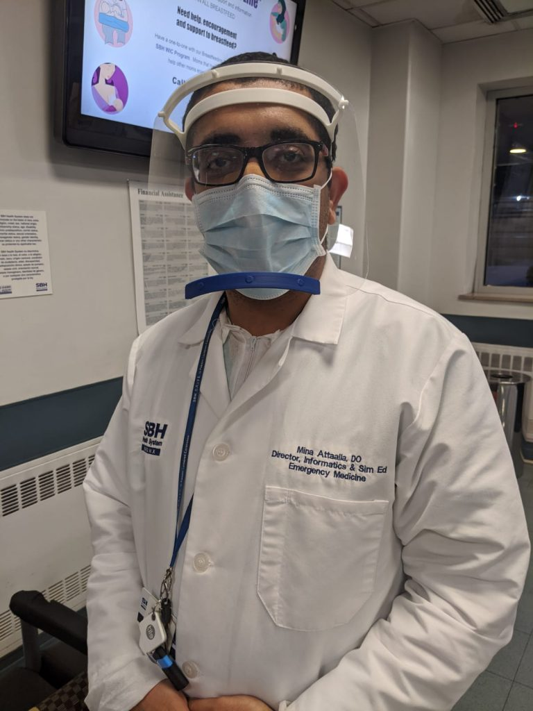 A doctor at St Barnabas wears the 3D printed face shield. Photo via iMakr.