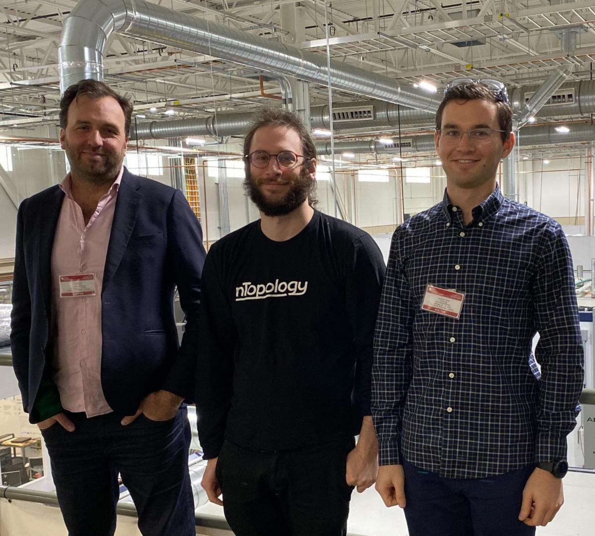 Duann Scott (left), Philip Schiffrin (center) and Jonathan Harris (right), from nTopology, at the Oak Ridge National Laboratory facility to kick off the project. Photo via nTopology.