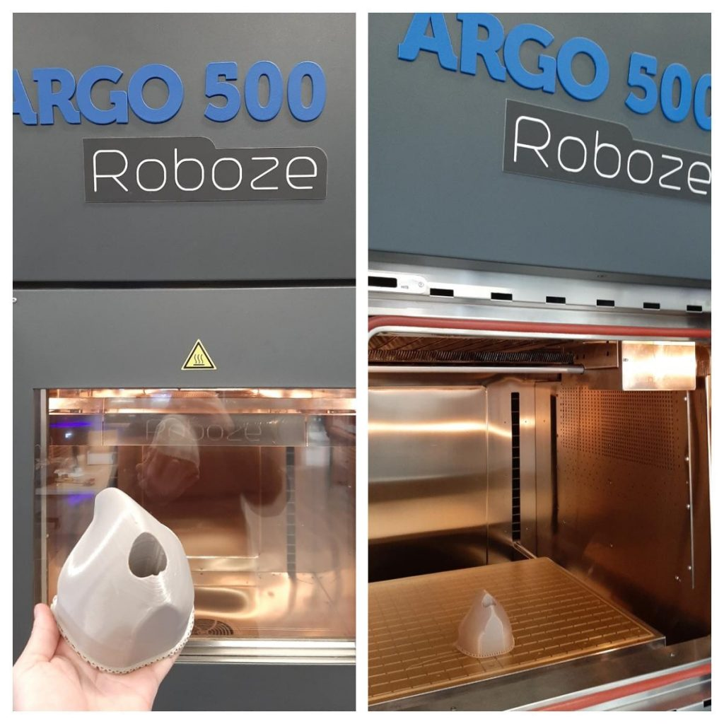 Roboze 3D printed mold for production of face masks. Photo via Roboze.