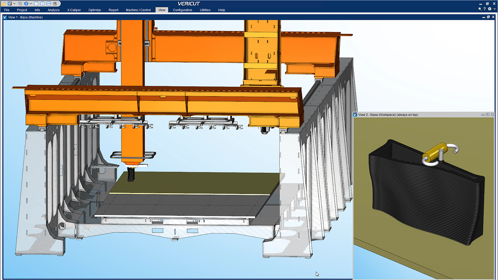 Simulation of Thermwood's 3D printing process. Image via CGTech.