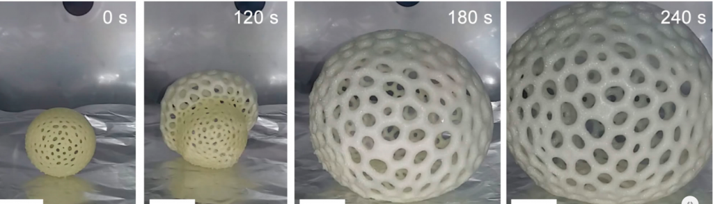 3D printed resin sphere undergoing expansion. Photos via UC San Diego.