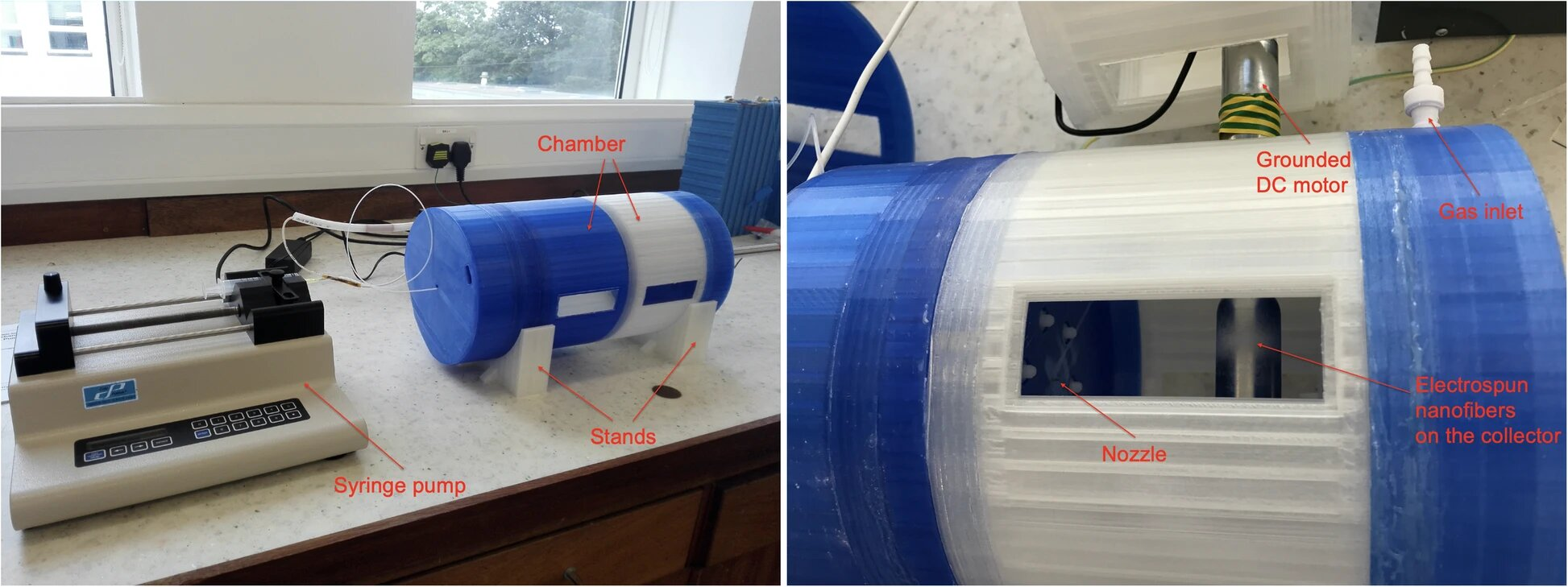 Left: The 3D-printed setup with two chamber parts assembled in electrospray mode. Right: The 3D-printed setup with the rotating collector chamber part during electrospinning nanofibers. Photo via 3D Printing in Medicine.