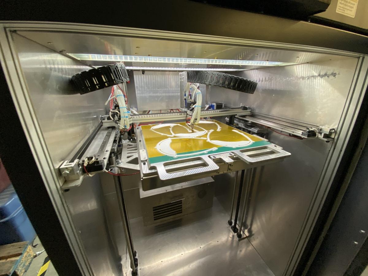 AON3D 3D printing face shields. Photo via McGill University.