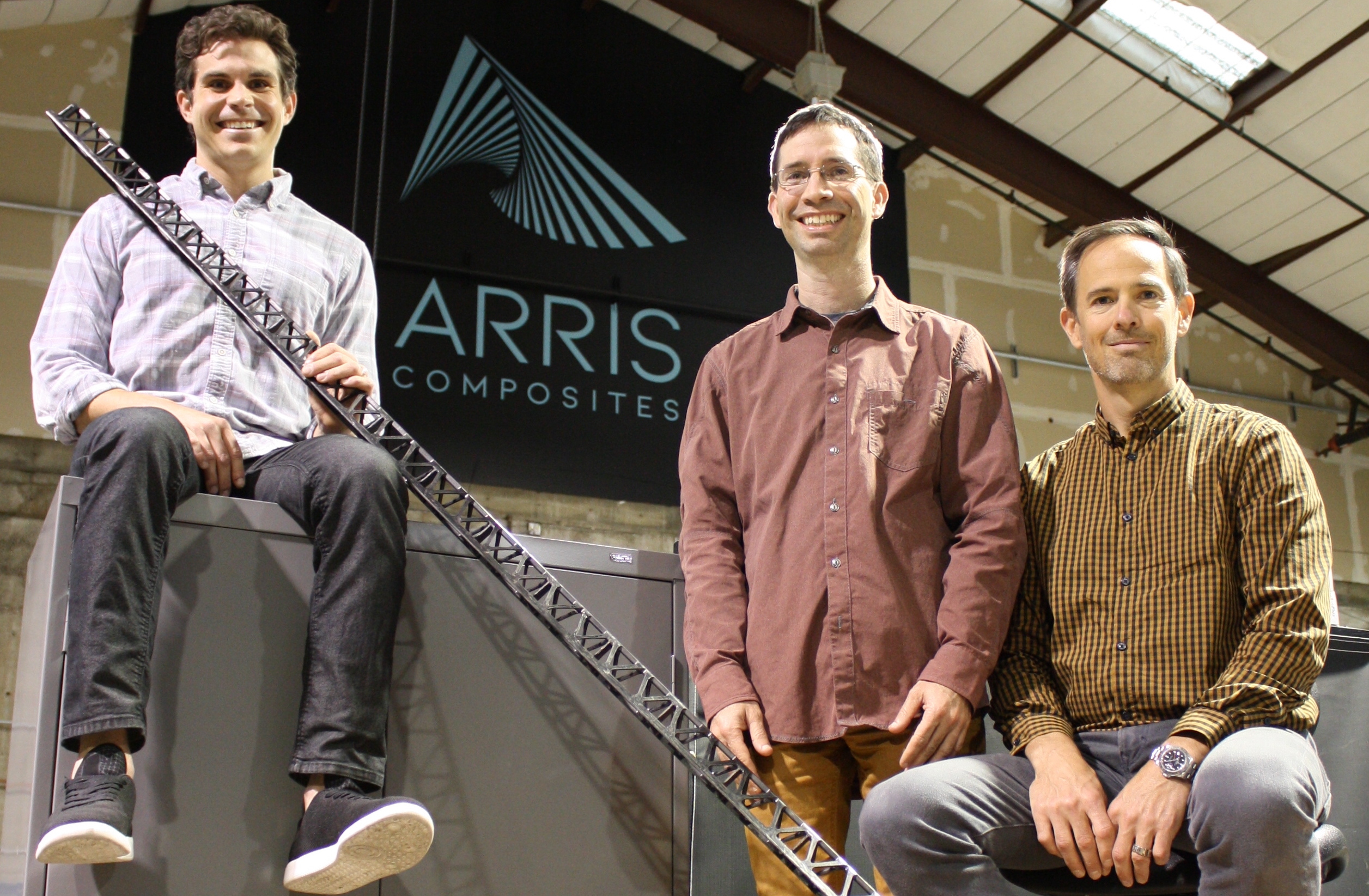 Arris Composites founders Ethan Escowitz, Riley Reese and Erick Davidson. Photo via Arris Composites