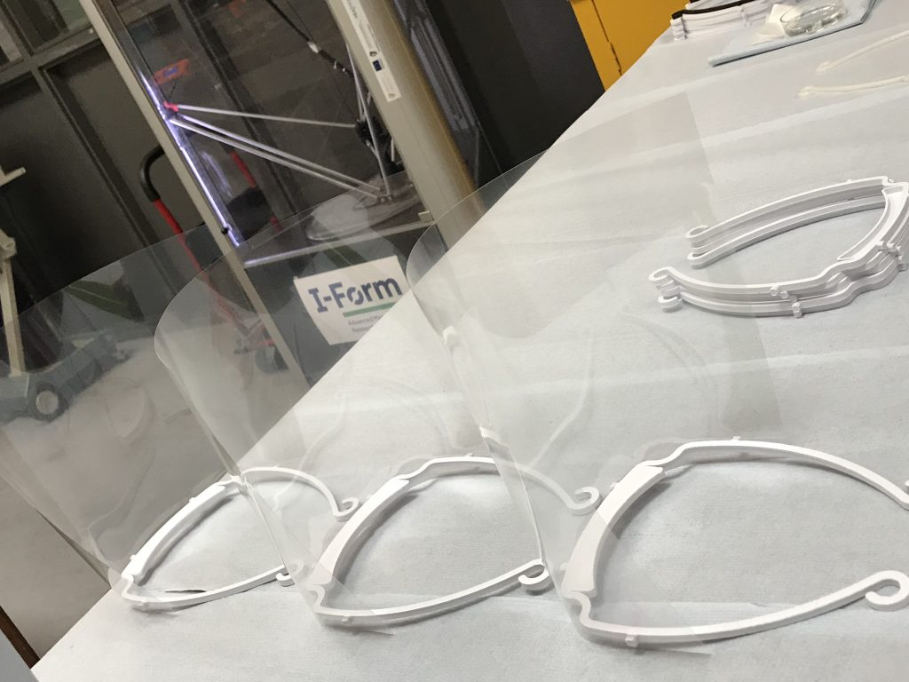 Assembled face shields in the I-Form lab at UCD. Photo via I-Form.