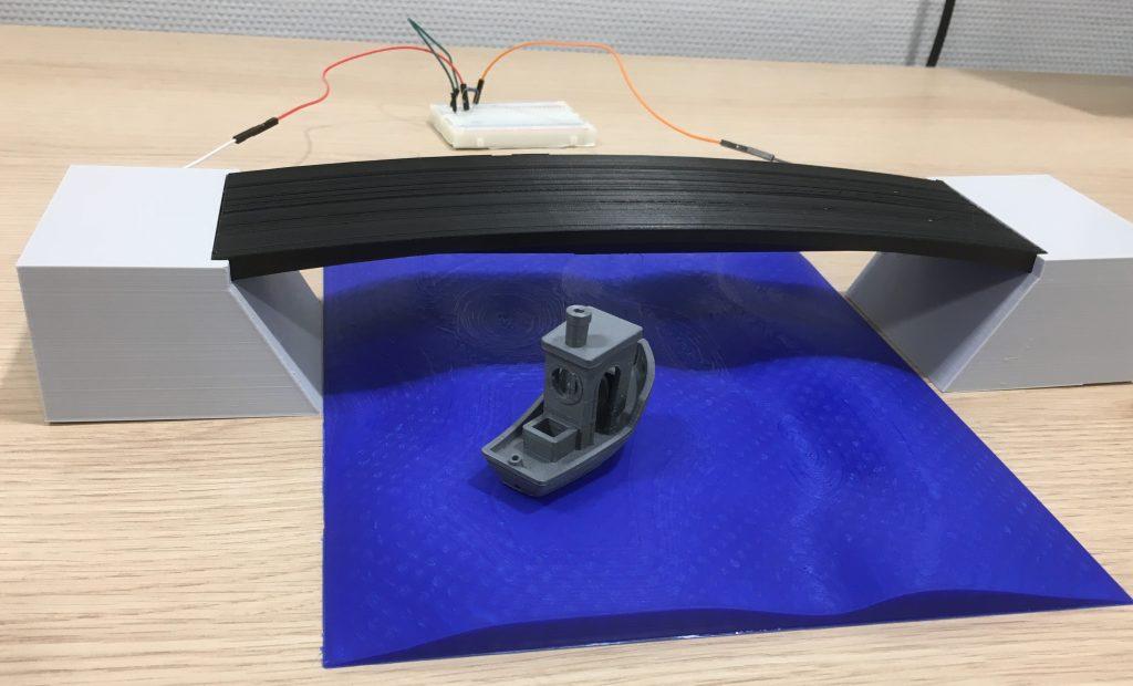 Self-sensing bridge demo. Photo via BMC.