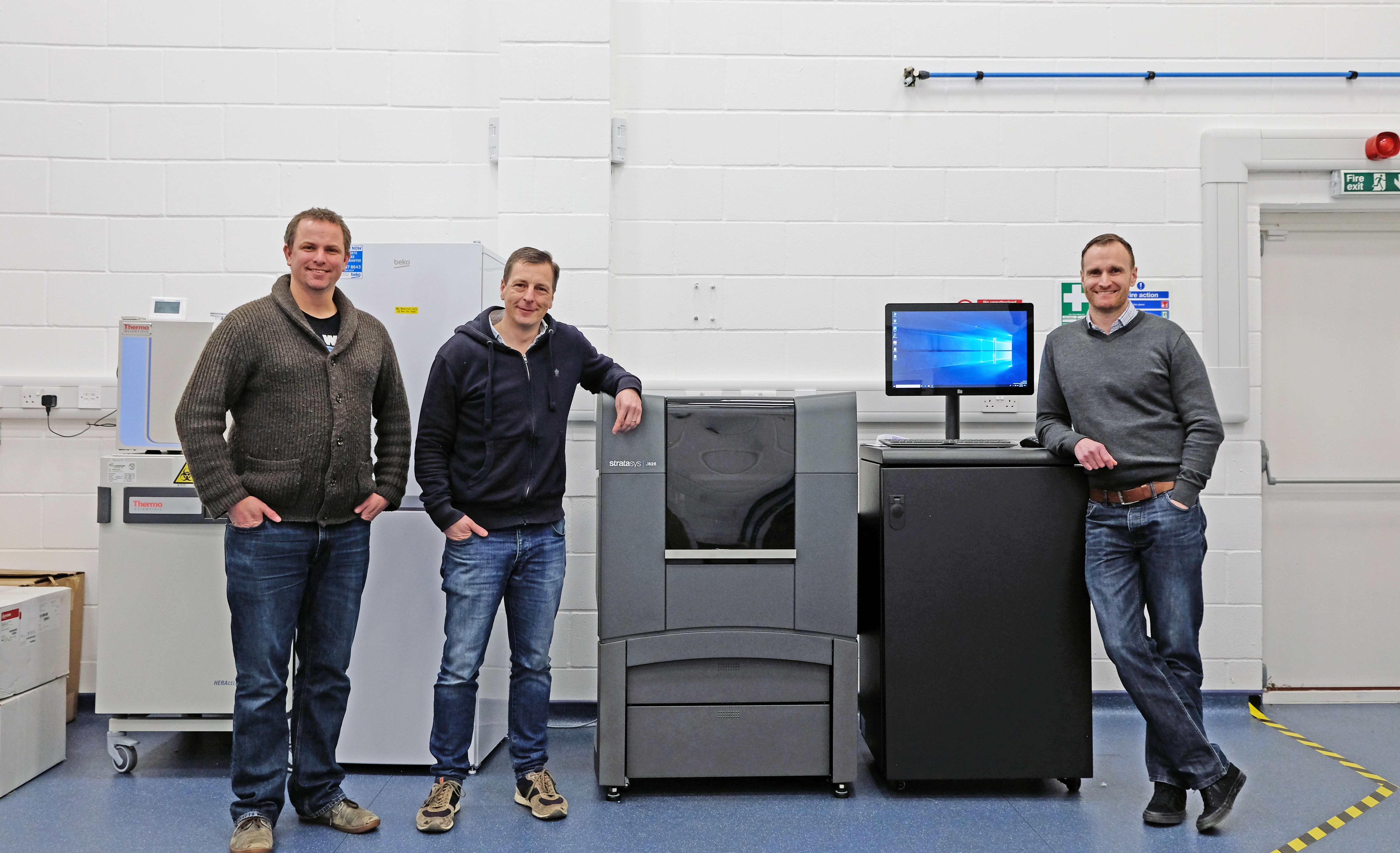 From left: Dr Colin Barker, Richard Vellacott and Nick Rollings. Photo via Stratasys.