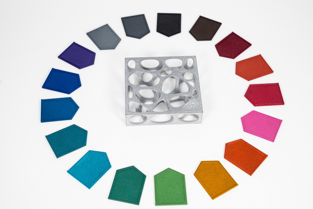 17 new colors for grey HP MJF parts. Photo via DyeMansion.