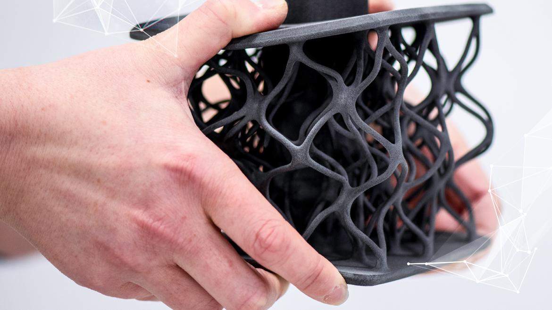Part 3D printed with ESTANE® 3D TPU M95A powder. Photo via Lubrizol.