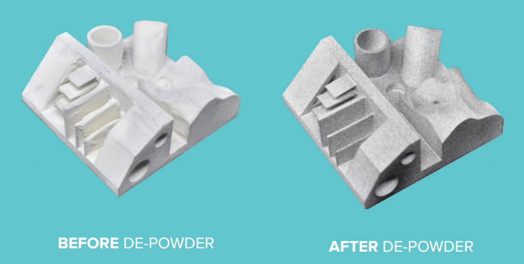 A 3D printed part before and after de-powdering. Image via AMT.