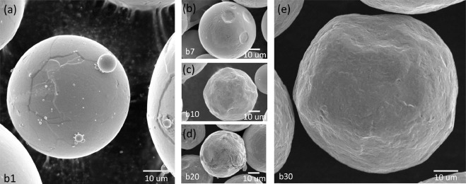 The morphology of the powder throughout the experiment. Image via University of Washington.