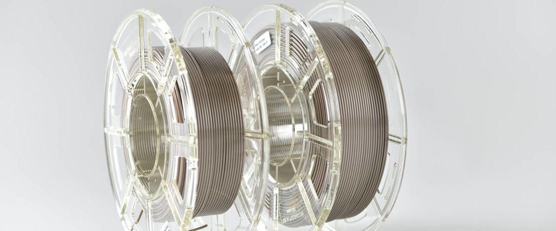 Evonik's new natural colored filament comes wound on 250g and 500g spools. Photo via Evonik.