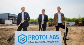 Featured image shows construction getting underway at Protolabs' new site (From left) Michael Meier (Protolabs), Edwin Klostermeier (Mayor of Putzbrunn) and Daniel Cohn (Protolabs). Photo via Protolabs.