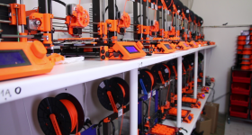 3D printfarm. Photo via Prusa.