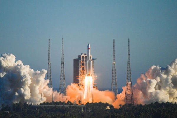 China's Long March-5B rocket blasting off on Tuesday. Photo via Xinhua.
