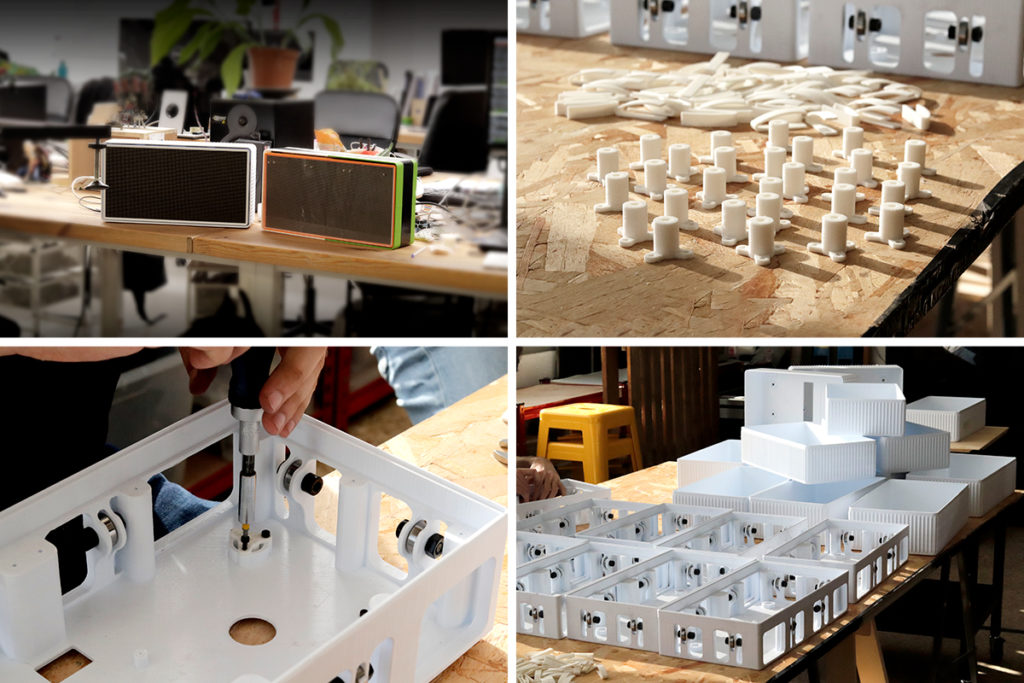 Collage of the iterative design process. Photo via BCN3D.