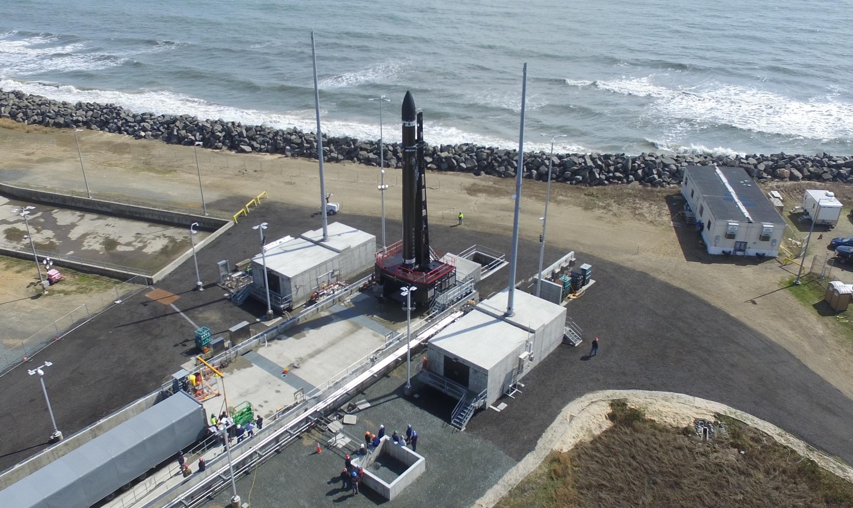 RocketLab's rocket raised onto its launchpad during systems testing. Photo via RocketLab.