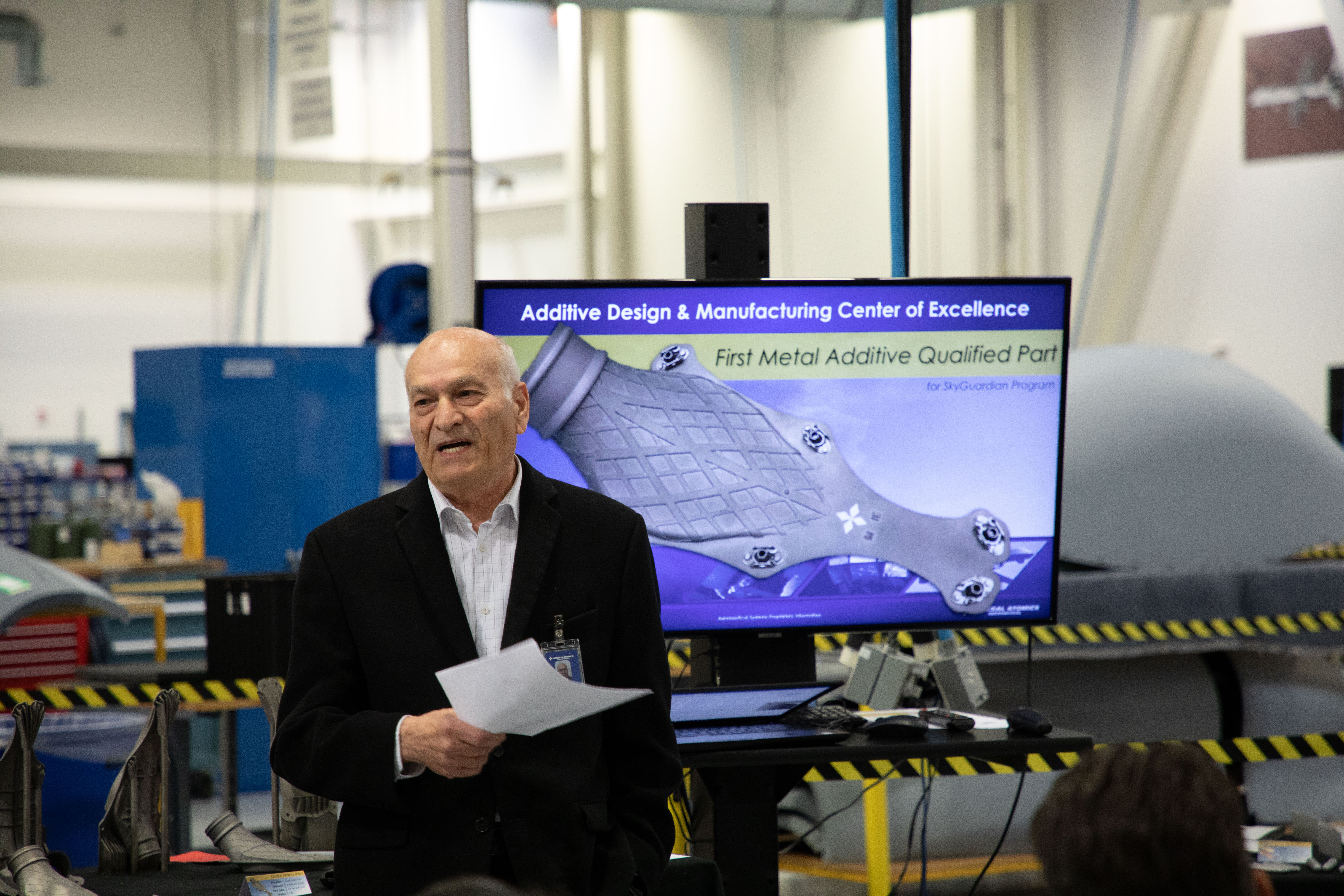 Elie Yehezkel, Senior Vice President of GA-ASI's Advanced Manufacturing Technologies attends an executive review in December 2019. Photo via GA-ASI.