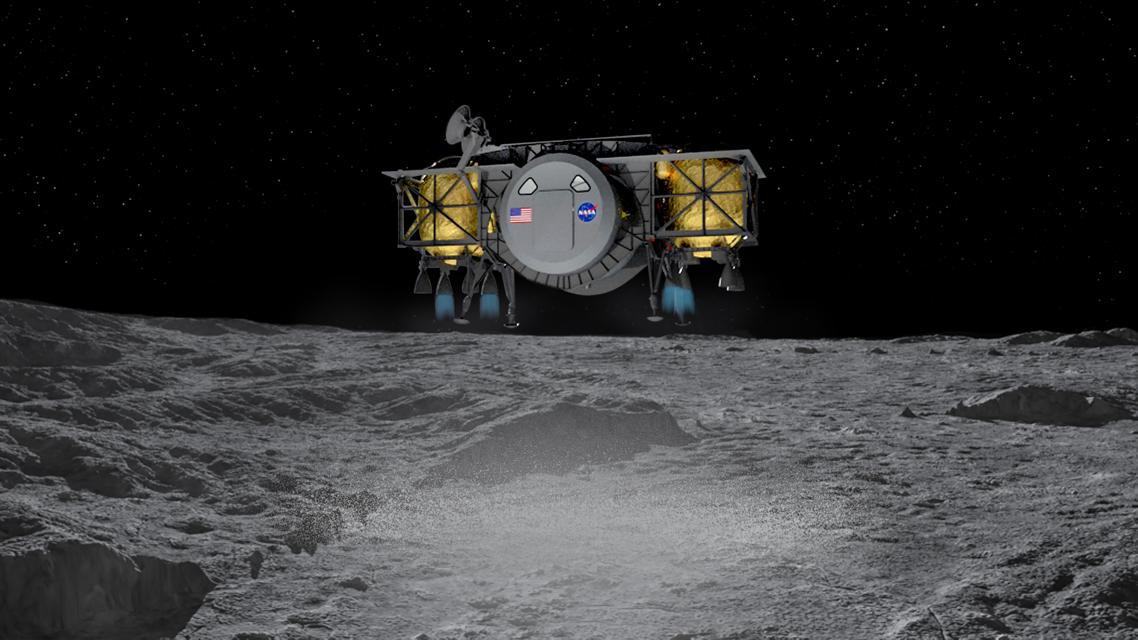 Human lander on the surface of the moon. Image via Dynetics.