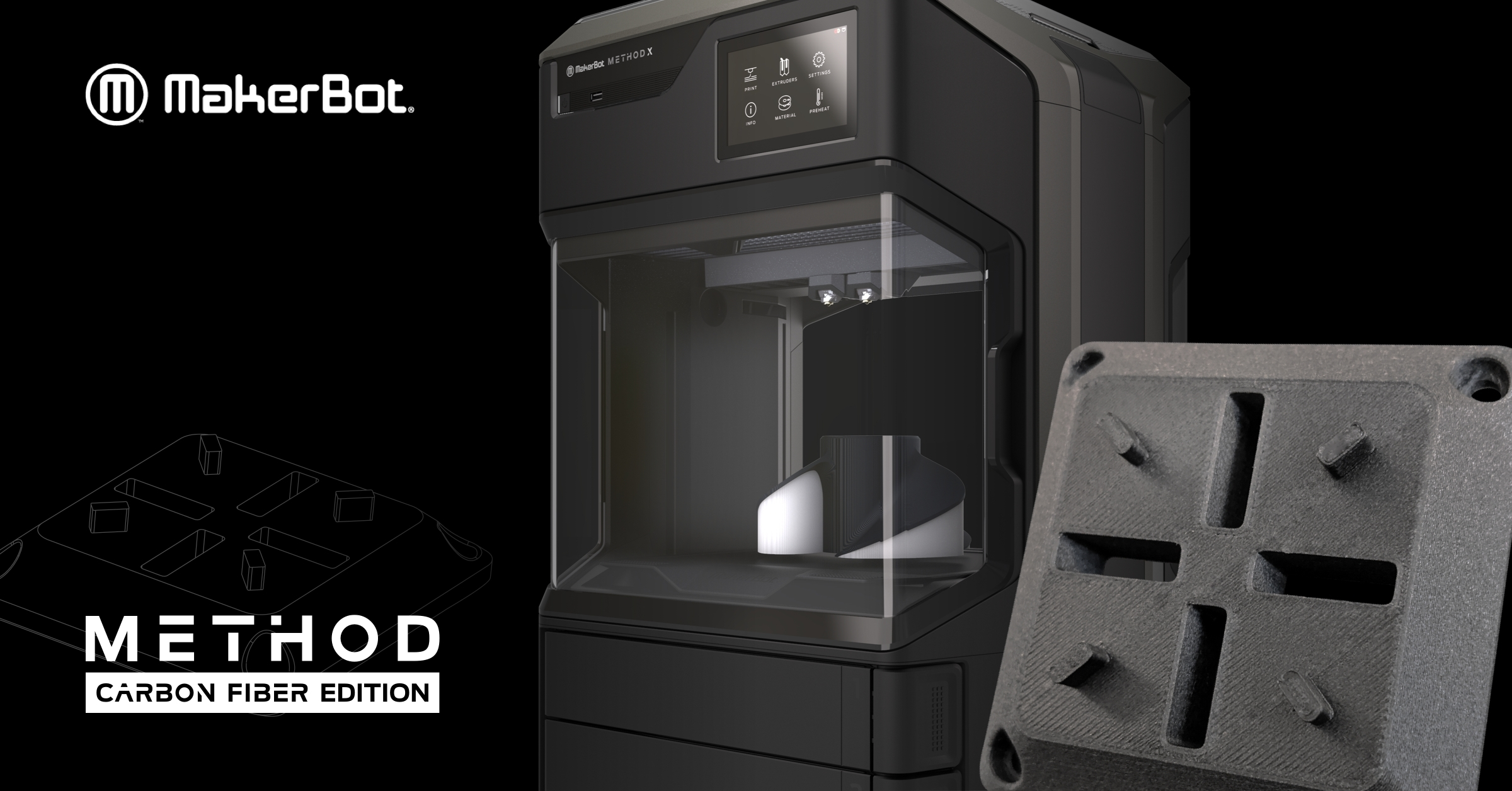 Makerbot's latest desktop 3D printer is the first to be able to print in carbon fiber. Photo via Makerbot.