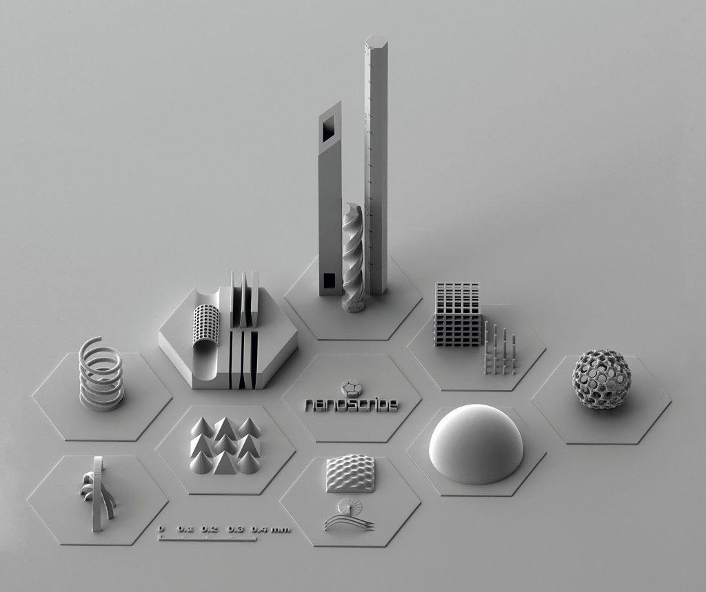 Micro-samples 3D printed by Nanoscribe. Image via Nanoscribe.