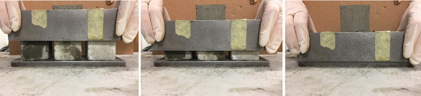 The cement samples being formed prior to testing. Photos via University of Medina.