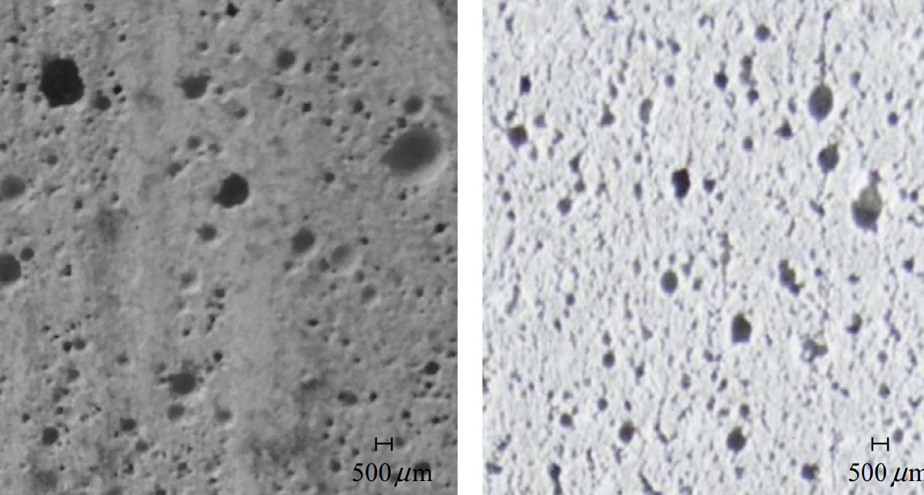 Comparison of void distribution in cross section of CC (left) and 3DPC (right). Image via University of Medina.