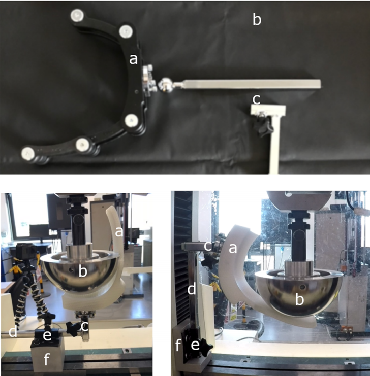 Type-G head support (top), posterior force test (left), lateral force test (right). Photos by Swansea University.