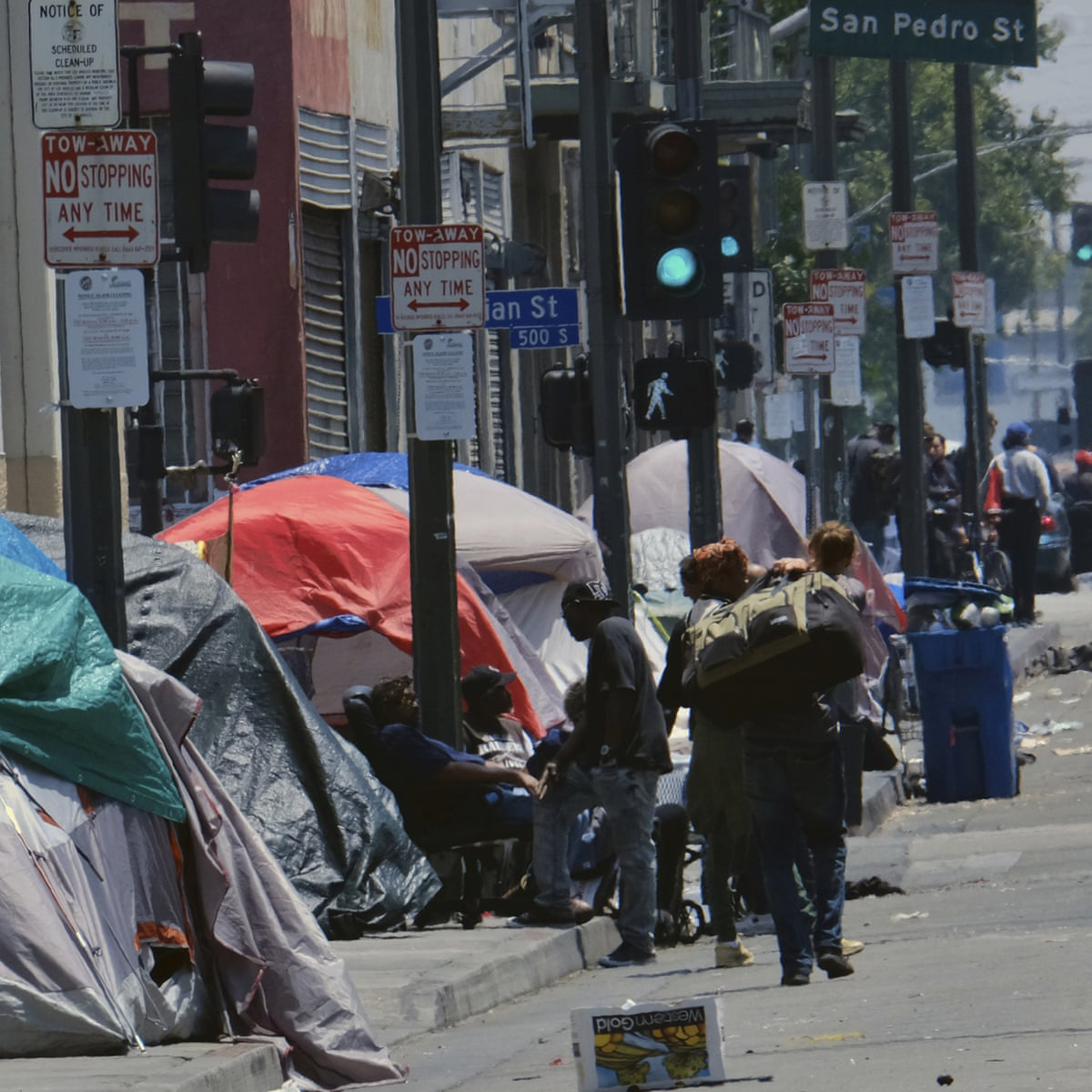Tents along a street in downtown LA. The number of homeless people counted across the county jumped 12% in 2019. Photo via Richard Vogel.