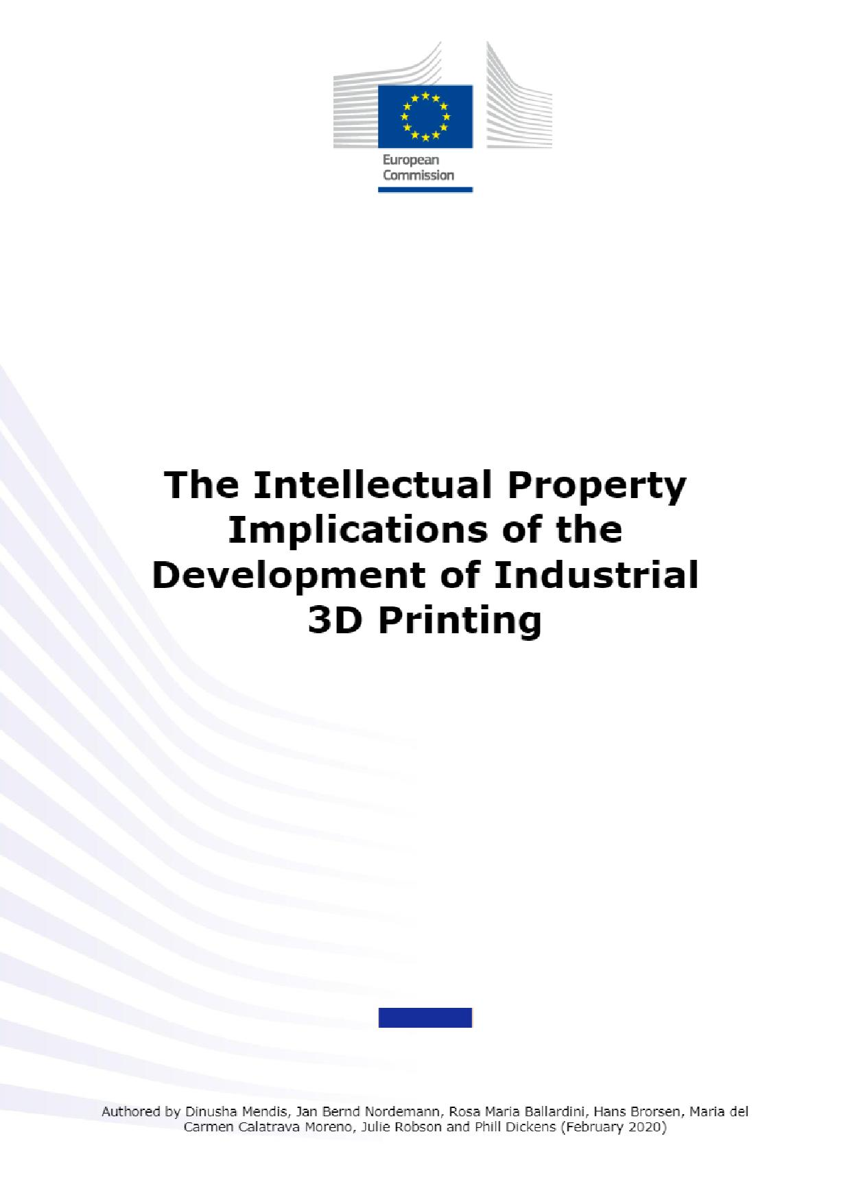 The Intellectual Property implications of the development of industrial 3D printing report. Image via Publications Office of the EU.