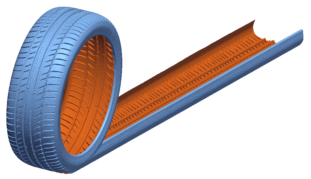 Unrolling of a 3D scan of a tire for mold modeling in Geomagic Design X. Image via 3D Systems.