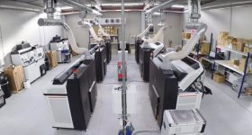 Weerg's line of HP 5210 3D printers, used to produce parts for customers. Photo via Weerg.
