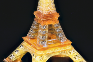 The researchers demonstrated their novel 3D printing technique by producing a replica Eiffel tower. Photo via UCLA.