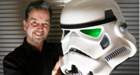 Andrew Ainsworth and the Original Stormtrooper helmet. Photo via Andrew Ainsworth.