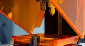 SLA 3D printing. Photo licensed by MakerOS via Shutterstock.