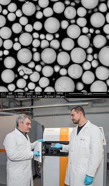 Photograph of the P2000 steel powder under the electron microscope (top). Ariyan Arabi-Hashemi and Christian Leinenbach use a 3D laser printer to fine-tune stainless steel alloys. (bottom). Photos via EMPA.
