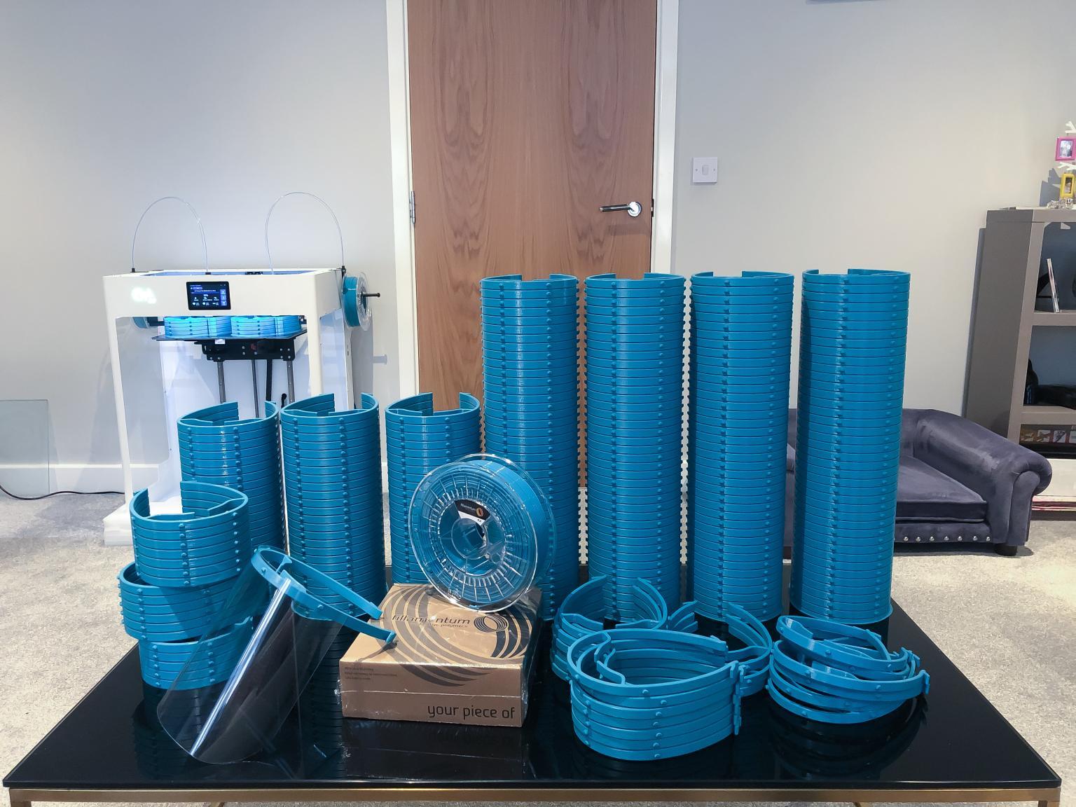 3D printed PPE parts. Photo via Craftbot.