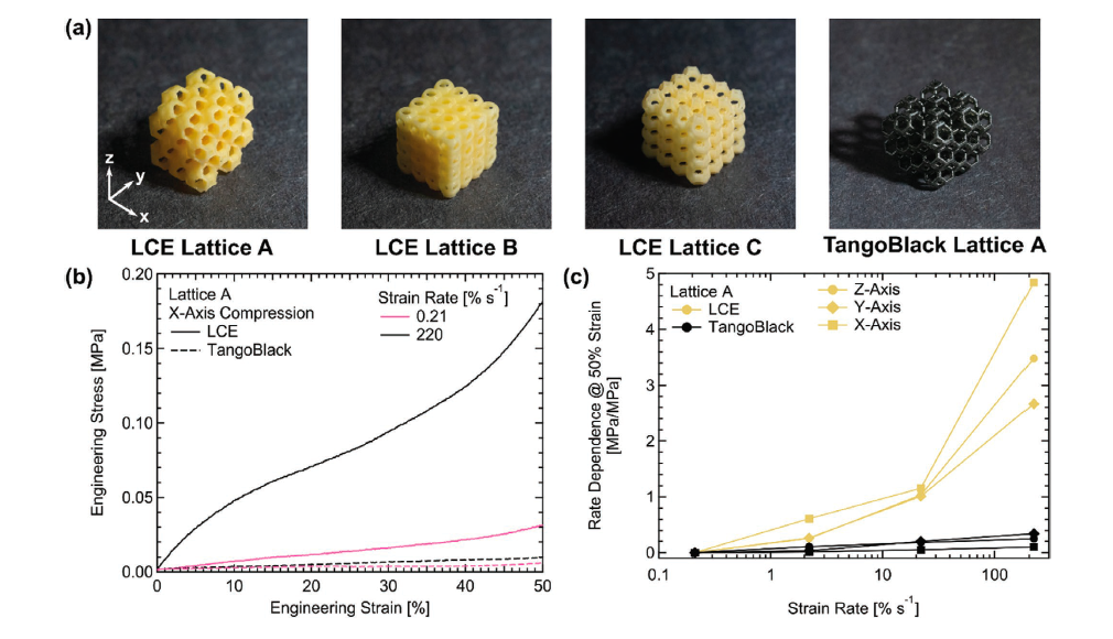 The DLP 3D-printed LCE and TangoBlack lattices were tested under uniaxial compressive loading and stress responses were observed. Image via Advanced Materials.
