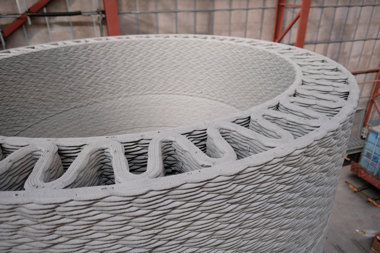 3D printed concrete wind turbine tower. Photo via GE.