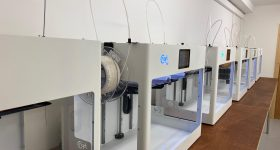A line of Craftbot 3D printers. Photo via Craftbot.