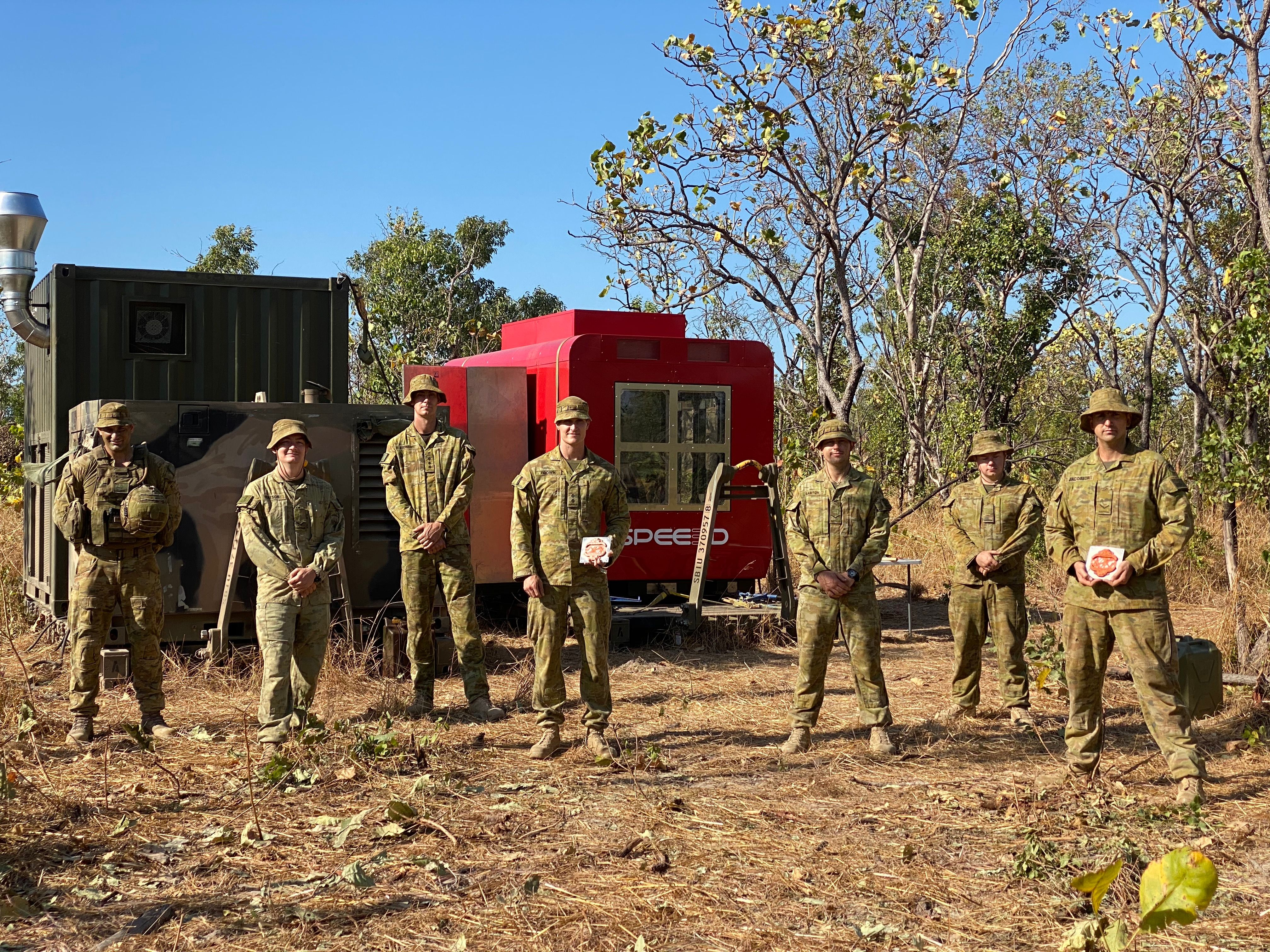 The group of soldiers (pictured) from the Australian Army's 1st Combat Service Support Battalion, which operated the 3D printer during the trial. Picture via SPEE3D.