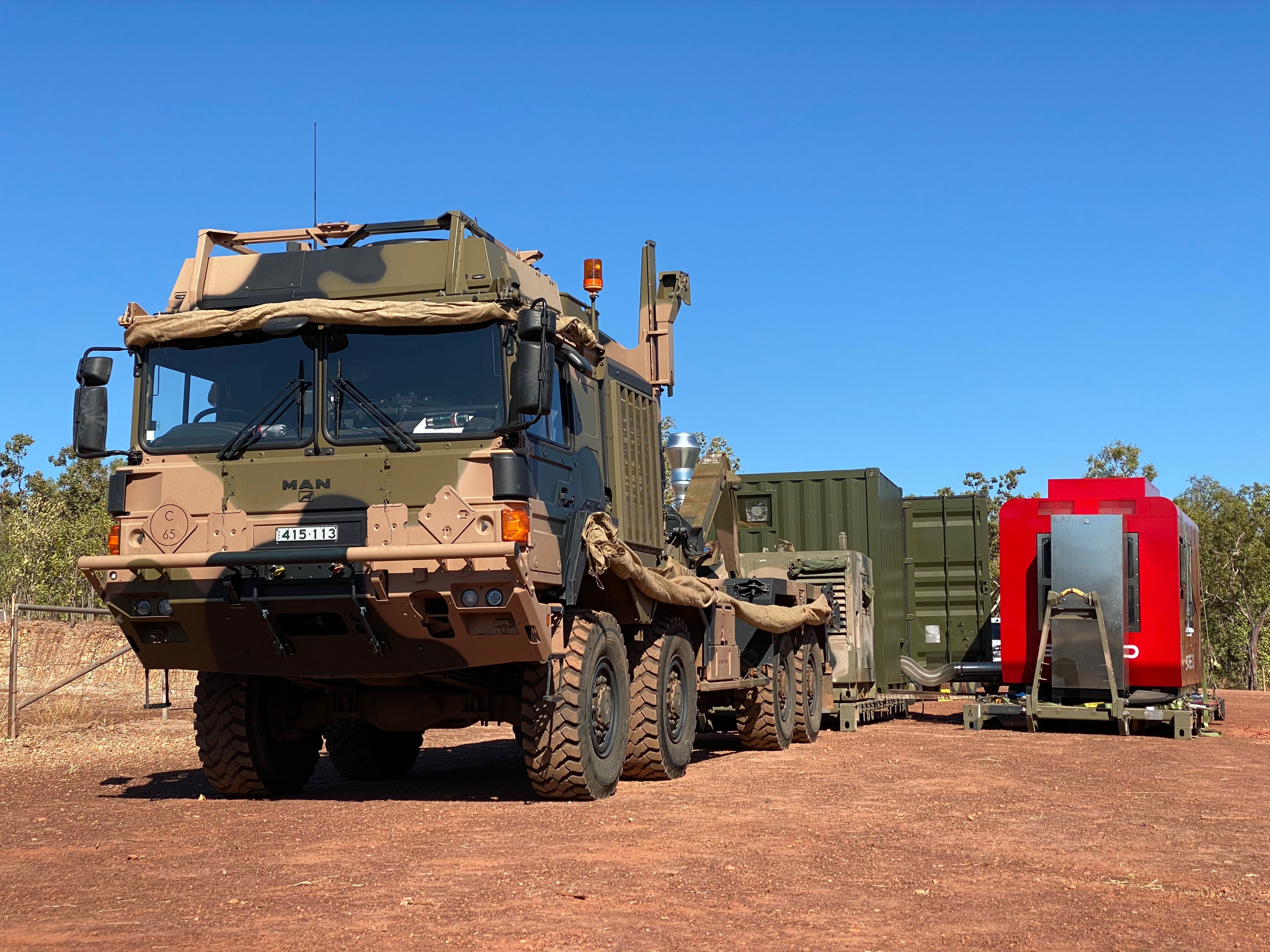 The SPEE3D system was trucked across Australia's Northern Territories, and was reportedly able to become operational within 30 minutes. Picture via SPEE3D.