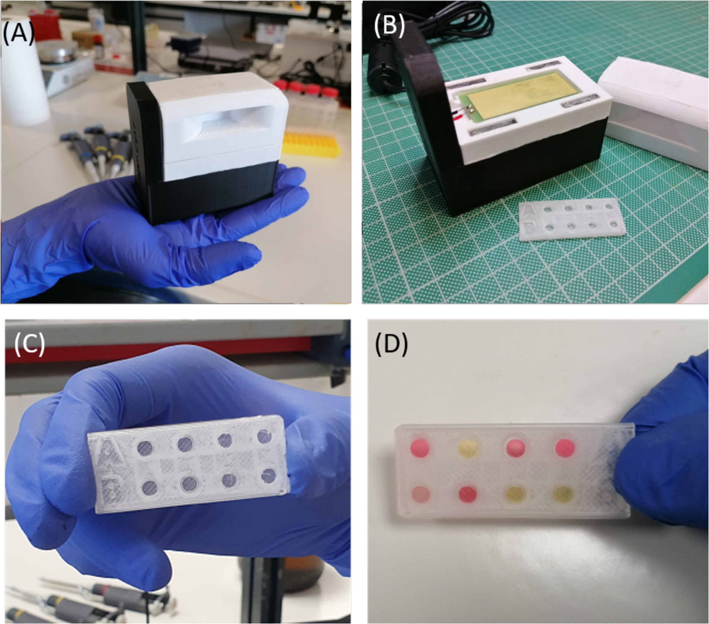 The 3D printed DNA amplification device containing a magnet and PCB heater. Photos via University of Crete.