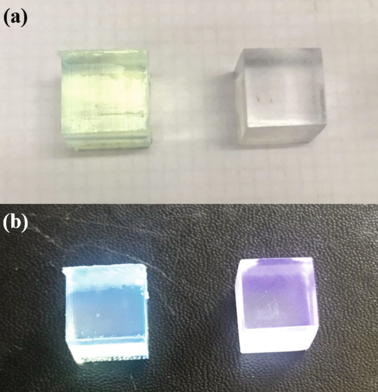 The scintillators when in standard conditions (A) and when irradiated (B). Photos via Hanyang University.