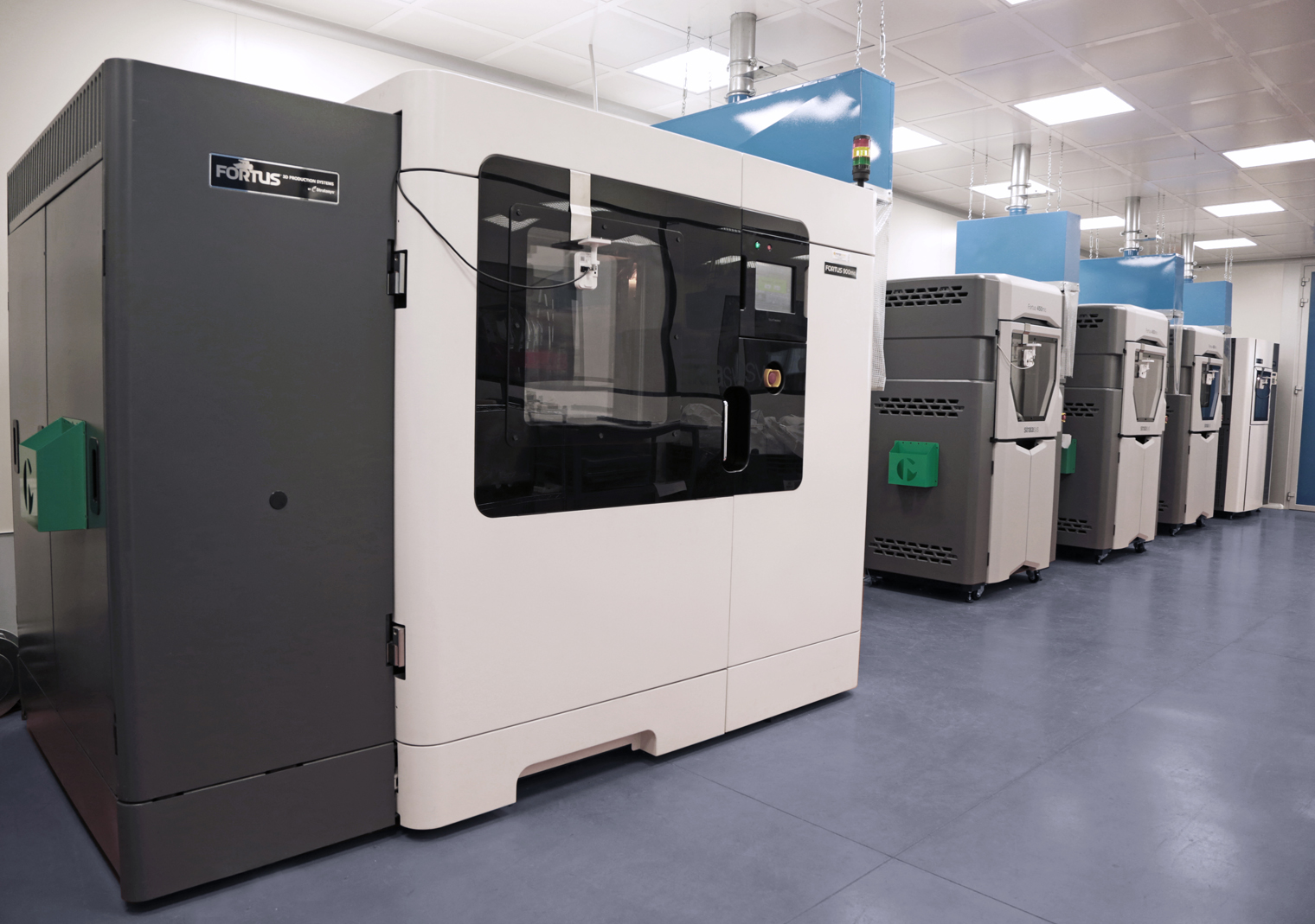 Marchesini Group's 3D printing facility, featuring twelve industrial-grade Stratasys 3D printers. Photo via Stratasys.