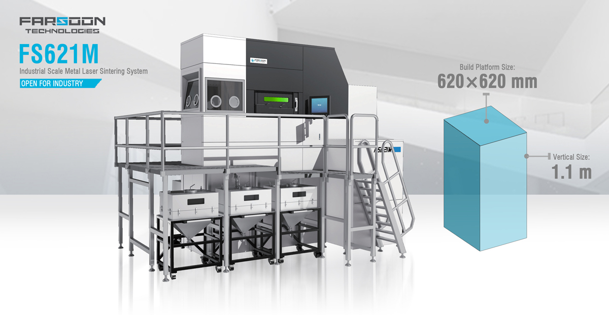 Farsoon's FS621M metal 3D printer features a large build platform to enable the series production of large-format parts. Image via Farsoon.